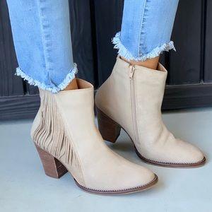 NIB Cream Leather Fringe Block Heel Ankle Bootie